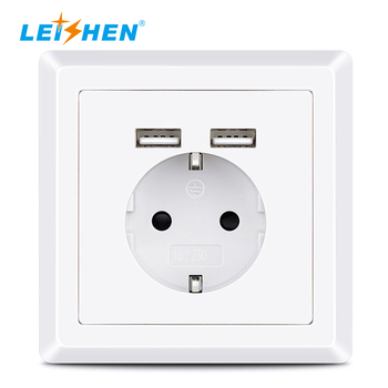 Hottest favorable 220V EU electrical power charger outlet New Germany type electrical USB 2.4A Wall Socket