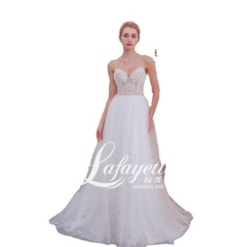 Sexy Lace Dot Tulle Bride Beach Casual Bride Gown Simple Boho Wedding Dress 2020