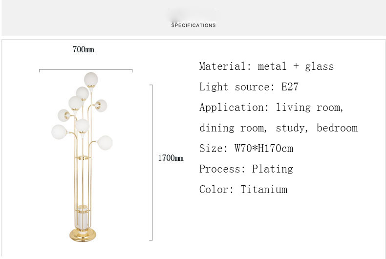 Postmodern neo-classical long glass crystal ball floor lamp decoration model room villa luxury floor lamp