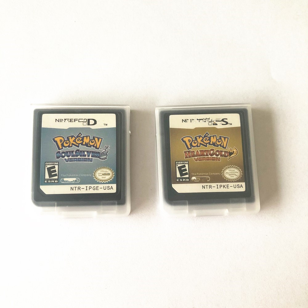 USA and EUR version game cartridge pokemon heartgold and pokemon soulsilver for ds