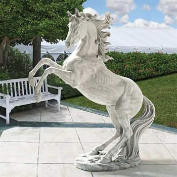 High quality customized decorative white marble jumping horse statue