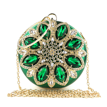 Green Clutch Women Round Clutch Bag Crystal Wedding Bridal Purse and Handbags Exquisite Chain <strong>Shoulder</strong> Bag Women Party Bag