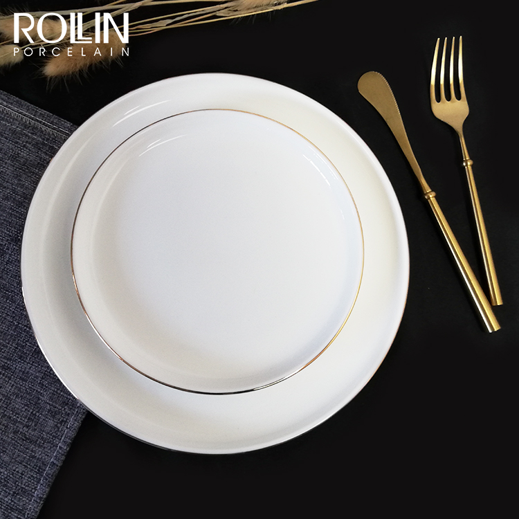 Wholesale hot sale round porcelain ceramic wedding white dinner plates