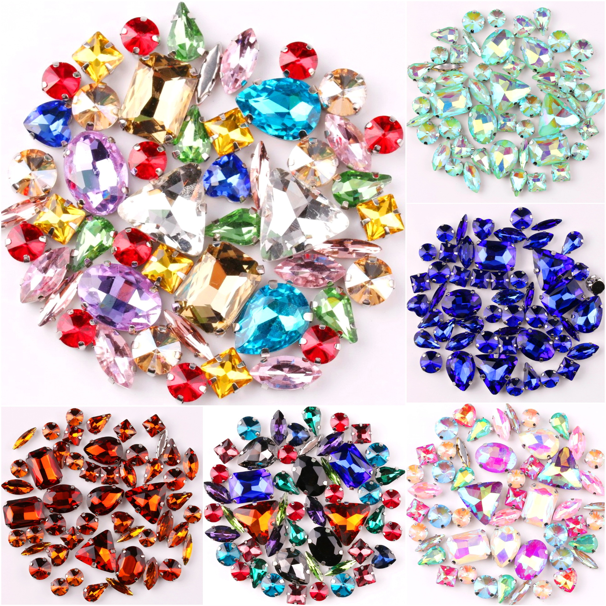 Silver Claw Setting 50Pcs/Bag Shapes Mix Clear &amp; Jelly Candy AB Glass <strong>Crystal</strong> Sew On Rhinestone