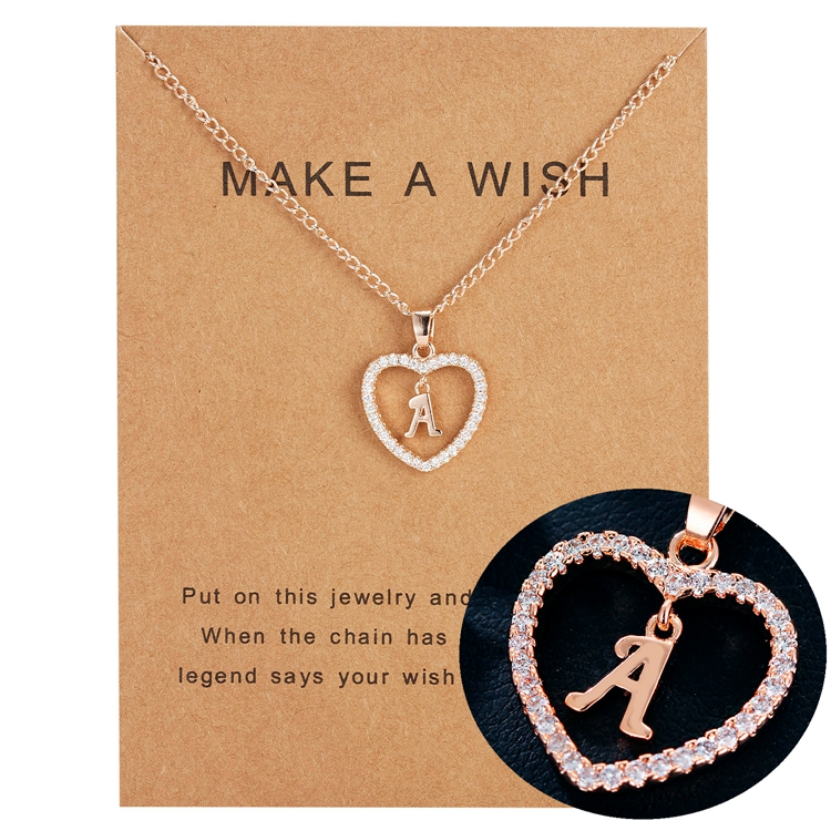 Personalised Charm Girls Gift Rose Gold Plated Heart Pendant 26 Alphabet CZ Initial Letters Necklace With Wish <strong>Card</strong>