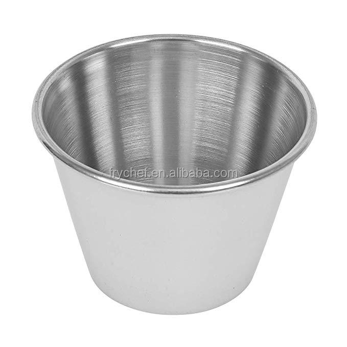 Stainless steel sauce cup, individual condiment bowl, kitchen sala cup jam cup ramekins  2oz, 4oz, 6oz
