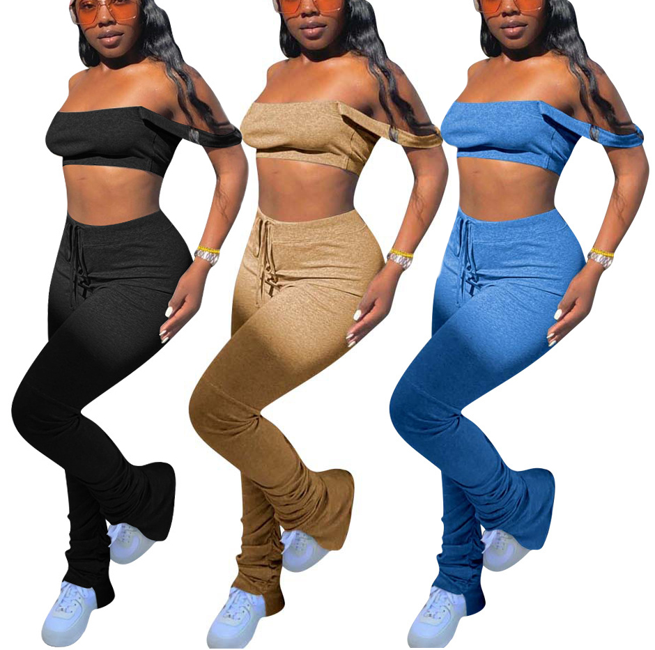 2020 New ribbed sweatpants women joggers ruched stacked pants leggings <strong>set</strong> for women