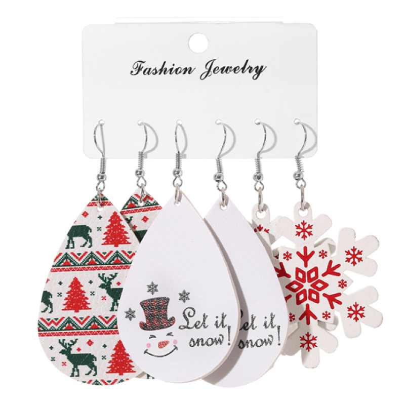 2020 New Fashion PU Leather Christmas Set Lady Earrings With Christmas Theme Elk Kid Bell Candy