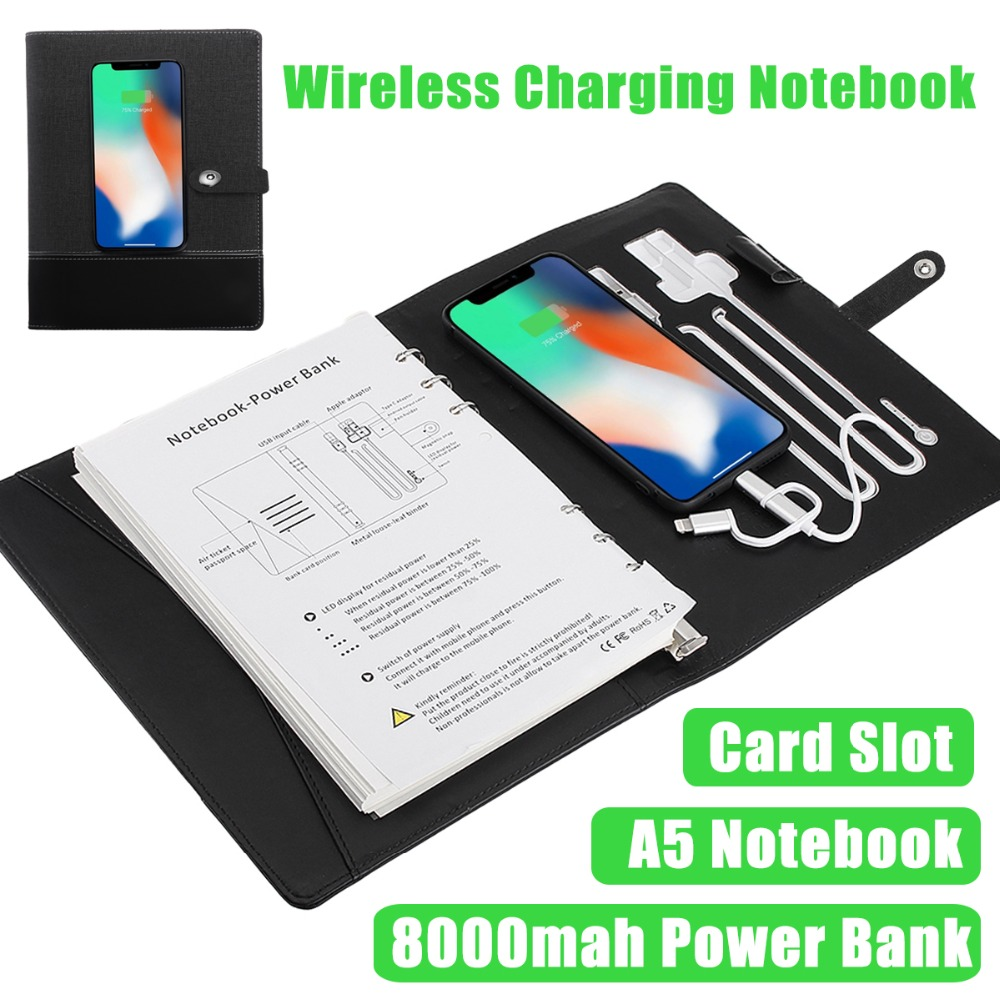 Planner Diary Notebook Power Bank with Wireless Charger, Note Book Power Bank With 3 in 1 USB Cable