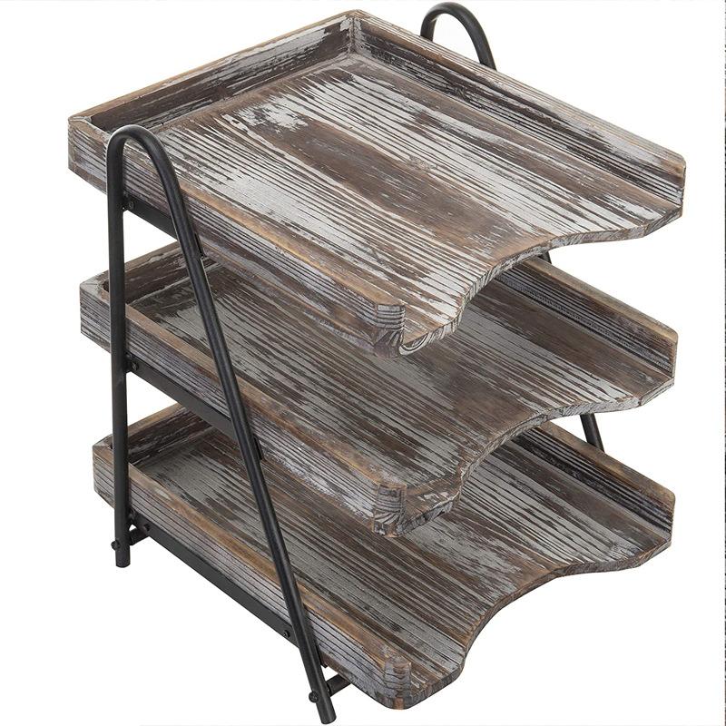 3-Tier Vintage Gray Wood & Black Metal Document Tray Wooden Desk Organizer