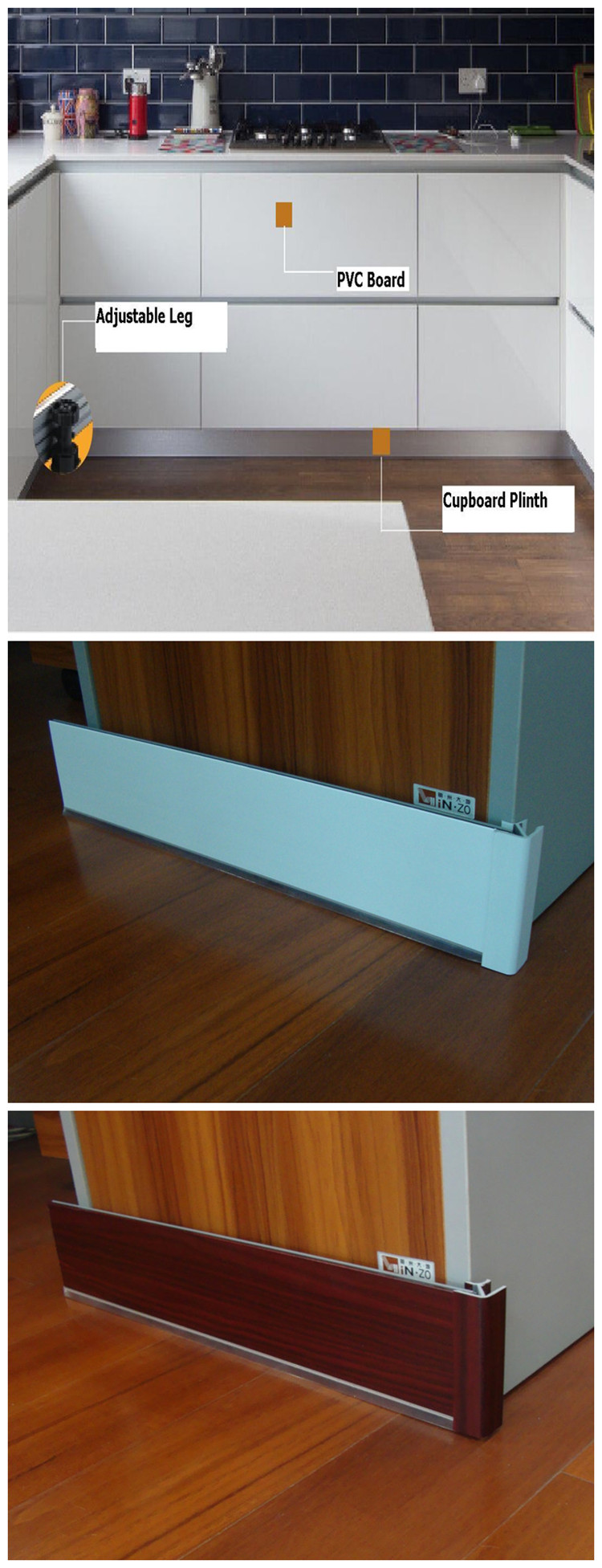 2019  hot stample waterproof pvc skirting board, baseboard for kitchen cabinet