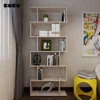 Living Room Home Furniture back open type Modern corner portable fine mdf Wood design bookcase Book Shelf Bookshelf by plywood