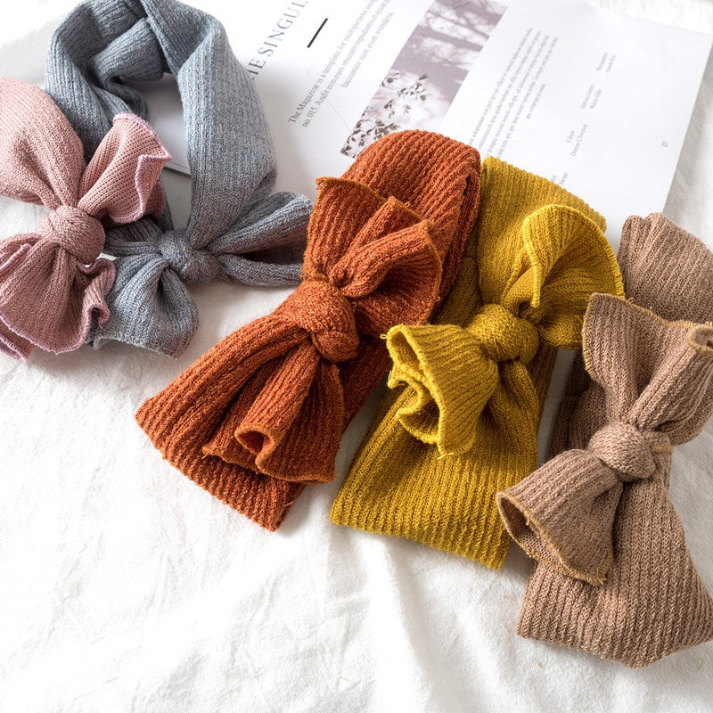 Baby Kids Girl Knitted <strong>headband</strong> Toddler Solid color soft Hair bands Elastic Hairbows Autumn Winter 11Colors