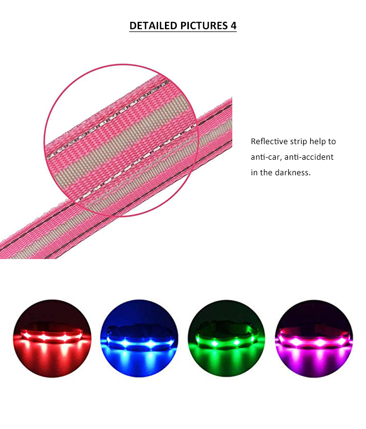 Safety Night Walking Rechargeable Luminous Necklace LED  Design Pet Collar For Dogs