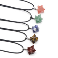 Wholesales Jewelry Handmade Hexagram Dangle Necklace Natural Stone Pendant Necklace