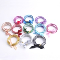 Christmas All Weather Jelly Bowknot Silicone Stacked Bracelet Glitter Filled Jelly Bangles Bracelet