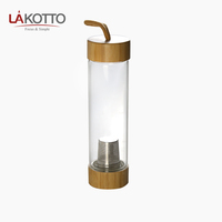 Promotional Gift Leakproof Portable infuser Glass Bottle With Wood Bamboo Lid 550ML