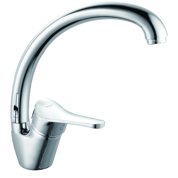 (OB8245-10W)Boou good quality heavy deck mounted single handle long spout 360 degree rotation kitchen sink mixer faucet tap