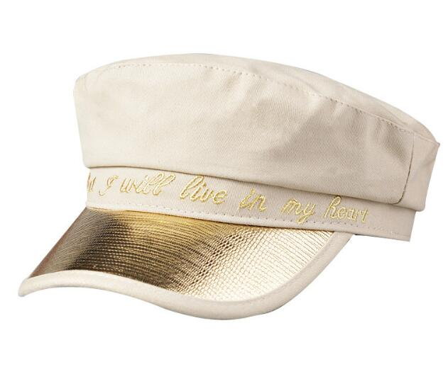 Know That <strong>Y</strong> Will Live In My Heart Embroidery Golden Visor Military Female <strong>Cap</strong> Sailor Hat