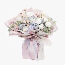 2020 New design <strong>double</strong> side waterproof floral <strong>paper</strong> plastic wrapping film Flower wrapping <strong>paper</strong> for flower