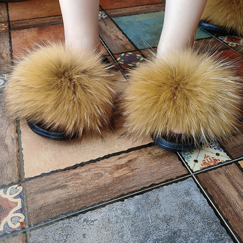 Cheap Price Wholesale Ladies fox/Raccoon Fur Slippers Fluffy Fashion Large Fur Slides
