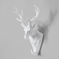 wholesale Resin Wall Sculptures little buckey Wall Mounted Faux Aged Finish Deer Skull And Antlers