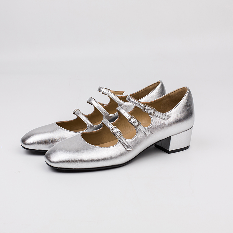 New Arrival Lady Shoes Women Casual Silver Loafers Dress Shoes High <strong>Heels</strong>