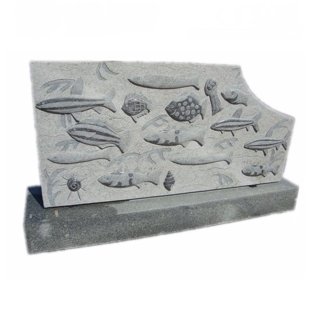 GAB547 Granite Sea World Animal Carving Natural Fish Stone