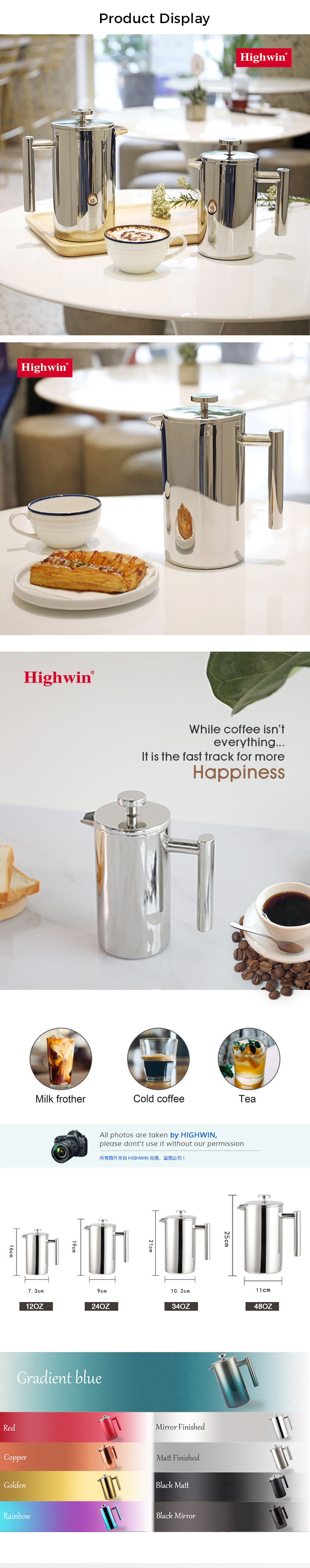 Highwin Factory 1000ml Double-Wall Stainless Steel Mirror French Press Coffee Maker