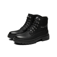 Hot Sale Round Toe Mens Fashionable Boots Black with Lace Up Style
