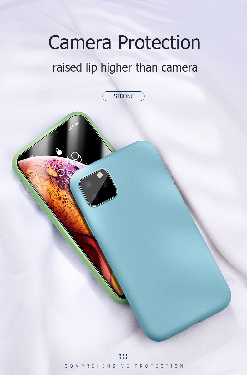 For Apple iPhone 11 Pro Max Case Liquid Silicone Rubber Soft Cover Phone Case Shockproof