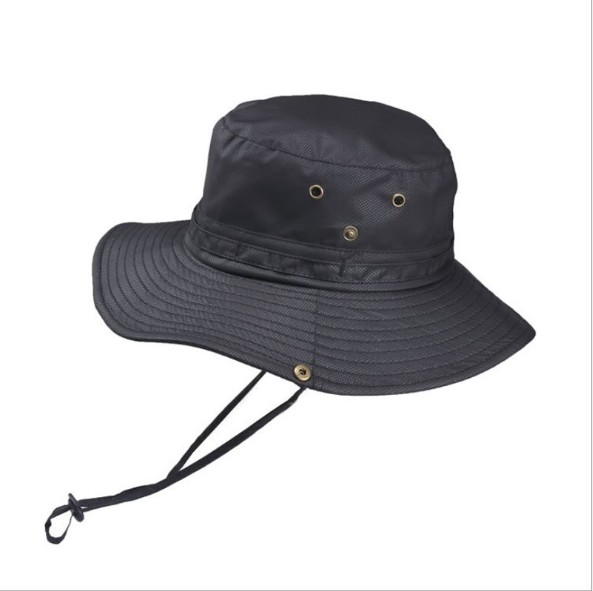 Unisex Wide Brim Sun Logo Summer Protection Black Fisherman Bucket Hat Custom