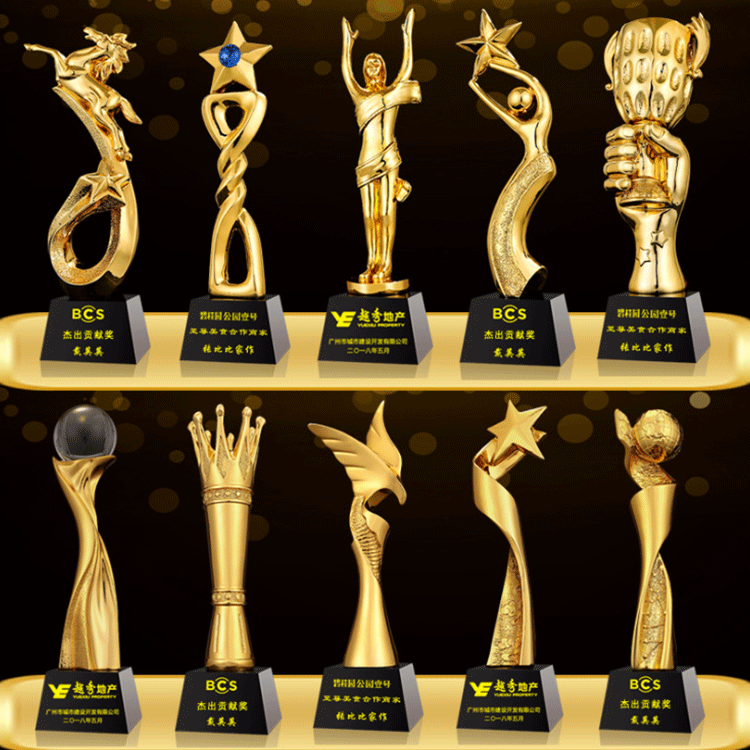 Customize zinc alloy design metal made 3D gold souvenir trophies