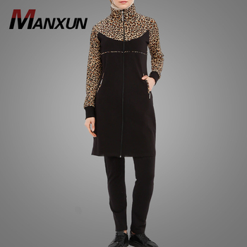 Women's Sport Suit High Quality Muslim Custom Long Sleeve Tracksuit Islamic Clothing Beautiful Leopard Print Ladies Sport Wear