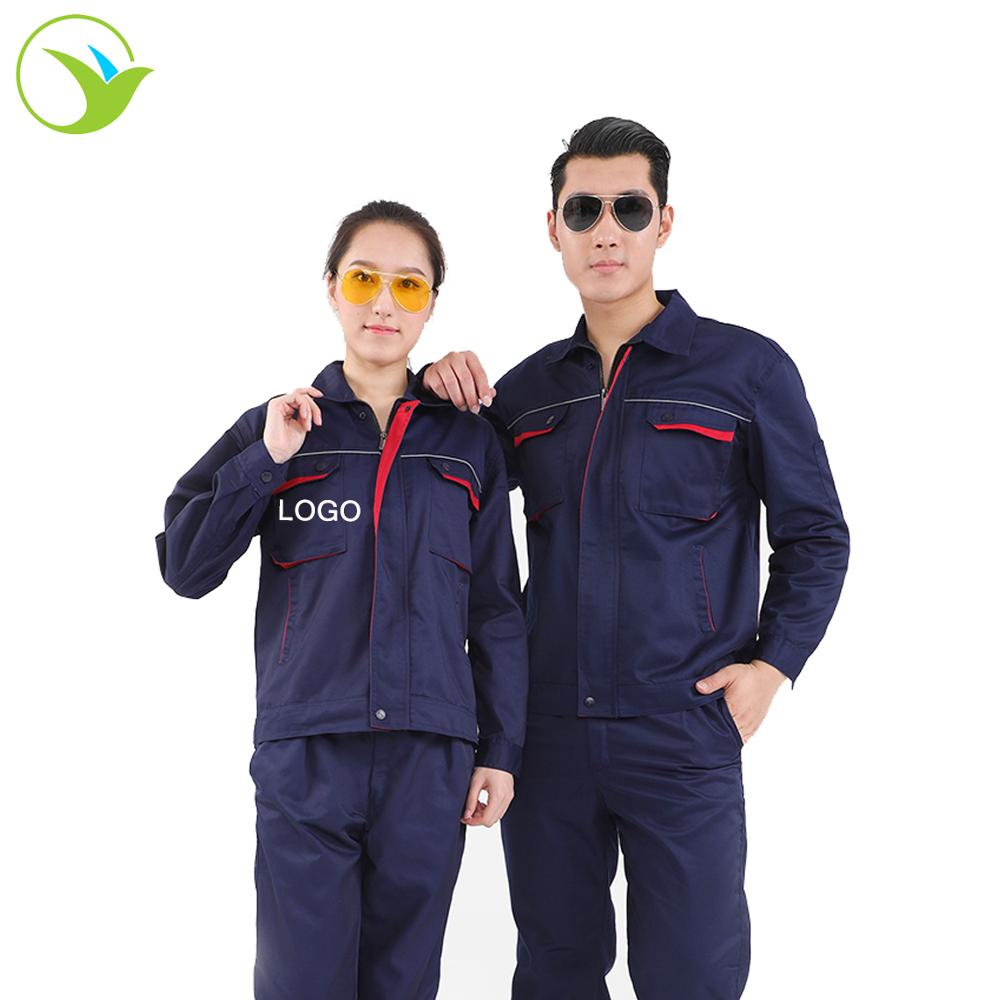 Embroidery logo custom construction workers safety clothing engineering uniform overall workwear