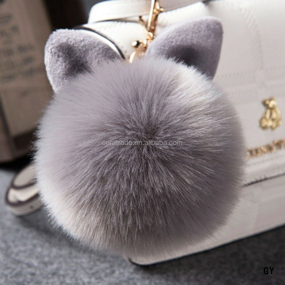 Fur Pom-pom Keychain Bag Charm Fluffy Puff Ball Key Ring Car Pendant