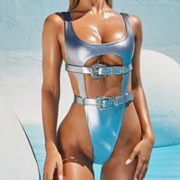 waist belt buckles straps high waisted metallic swimsuit thong bikini one piece silver swimsuit