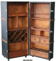 Black Crocodile PU Leather Rolling Bar Cabinet