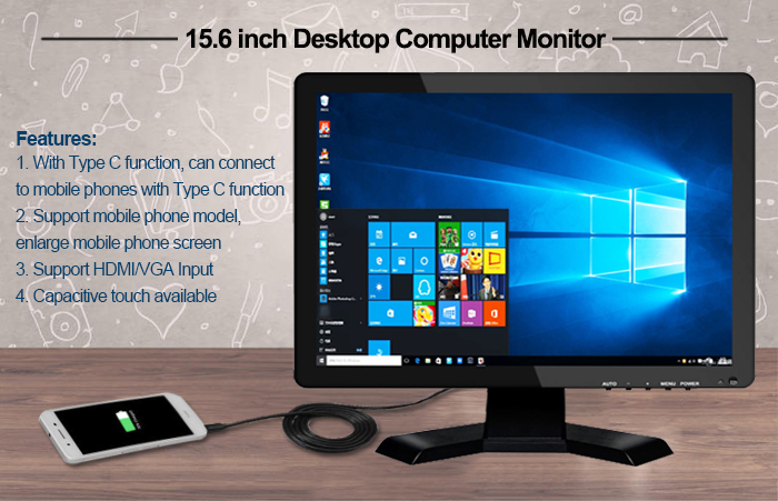 15.6 inch Desktop TFT LCD Monitor with HDMI VGA Input Compatible with Mobile Phones with Type-C Port