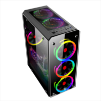 atx pc with fan colourful plexiglass horizontal cooled cpu cabinet dustproof gaming Computer Case