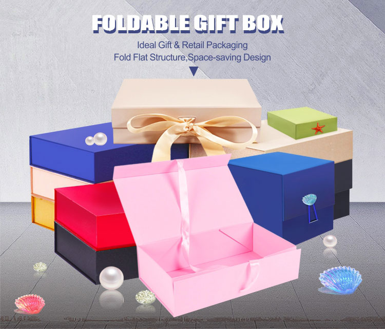 Wholesale custom rigid foldable magnetic closure folding gift paper box