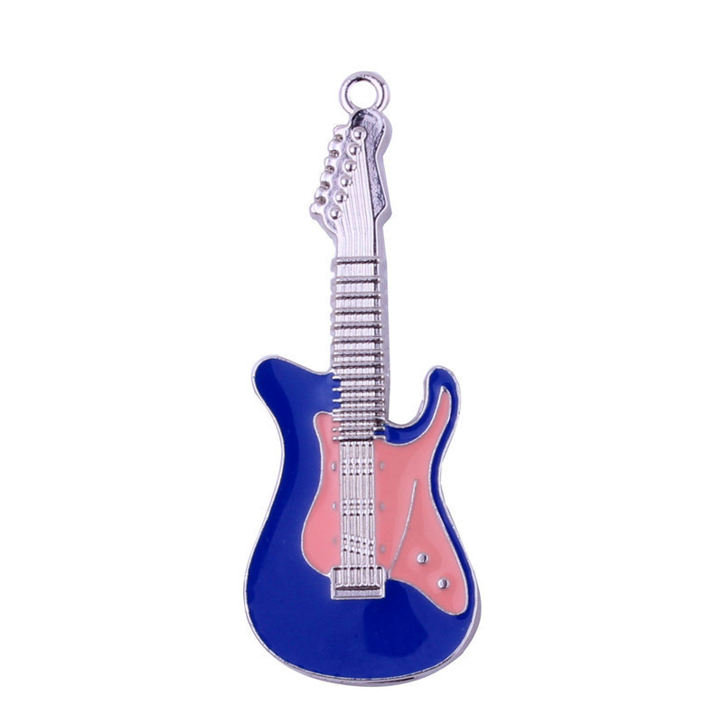 Crystal guitar shape usb memory sticks 2.0 8gb 16gb guitar usb drive flash 32gb 64gb with keychain Rock usb