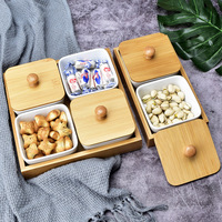 Whole Sale Fashionable Dry Fruit Tray Ceramic Food Serving Tray Set With Bamboo wood Lid