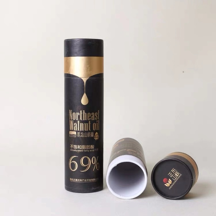 Waterproof Custom Printing Size Hot Stamping Biodegradable Cardboard Black Wine Paper Tube Cans Jar Box Packing