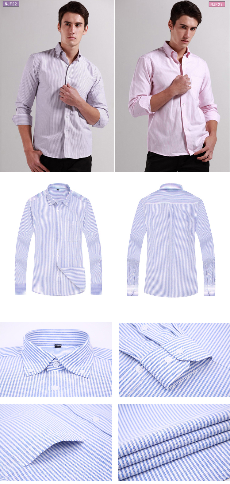 A1NJF Men's Striped Oxford Spinning Casual Long Sleeve Shirt Comfortable breathable Collar Button Design 2019 Spring Autumn New
