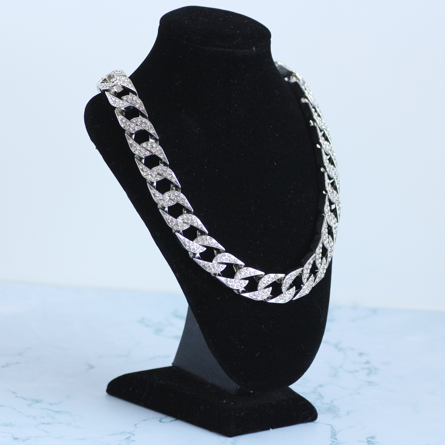High Quality Iced Out Full Rhinestone Gold Silver Color Plated Cuban Link Chain Mens HipHop Necklace