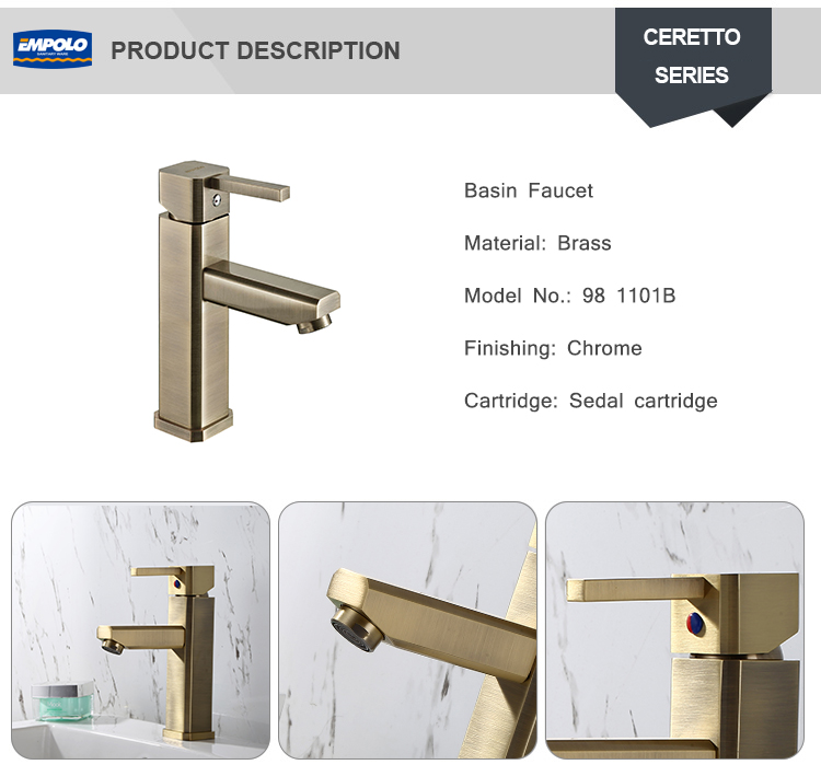 Luxurious Bathroom kitchen Gold Color Sink Wash Basin Hot Cold Water Faucet Mixer tap Single Lever Basin Mixer