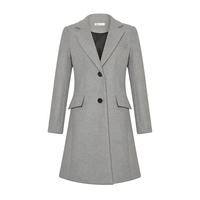 High quality simple design formal grey women woolen coat