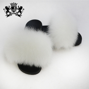 Quality chinese products plush fox fur slippers / fur slides