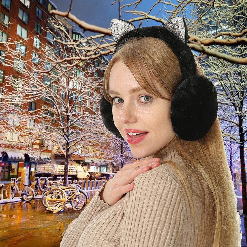 Foldable cat ears earmuffs sequins for ladies and girls fur plush warm earmuffs flashing headband cartoon 3D warming equipment